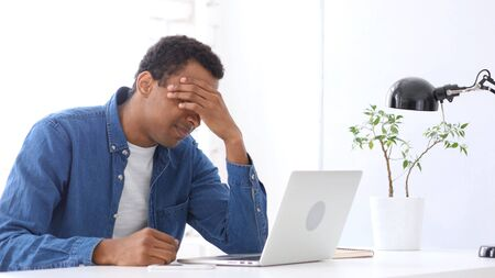 great danger: Headache, Tired Afro-American Man with Head Pain