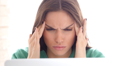 Headache, Emotional Stress for Creative Designer Woman Stock Photo