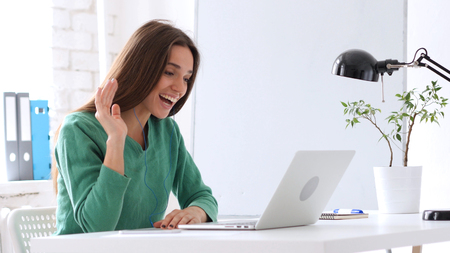 VIdeo Chat on Laptop by Woman, Webcam Stock Photo