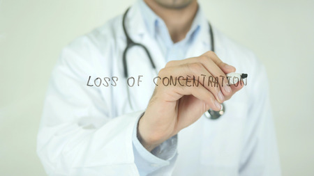 Loss Of Concentration, Doctor Writing on Transparent Screen