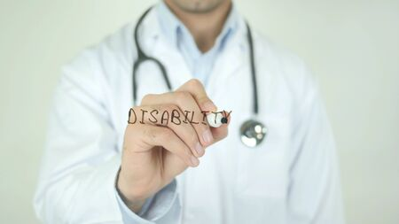 Disability, Doctor Writing on Transparent Screen
