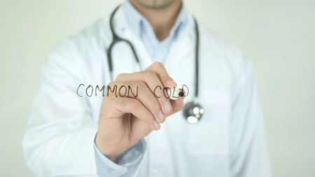 Common Cold, Doctor Writing on Transparent Screen
