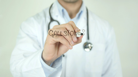 Gallstones, Doctor Writing on Transparent Screen