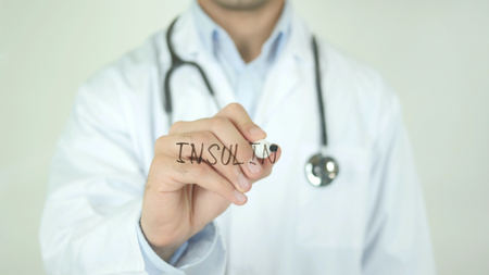 Insulin, Doctor Writing on Transparent Screen