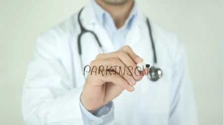 Parkinson, Doctor Writing on Transparent Screen