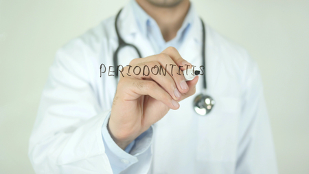 Periodontitis, Doctor Writing on Transparent Screen