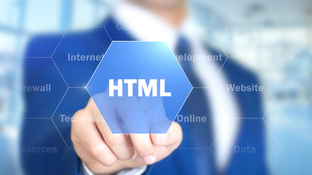 xml: Html, Man Working on Holographic Interface, Visual Screen Stock Photo