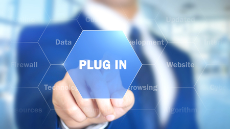 Plug In, Man Working on Holographic Interface, Visual Screen Stock Photo