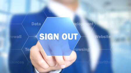 Sign Out, Man Working on Holographic Interface, Visual Screen Stock Photo