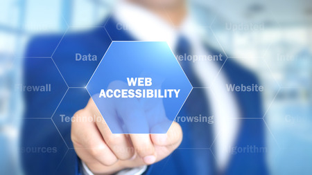 Web Accessibility, Man Working on Holographic Interface, Visual Screen Stock Photo