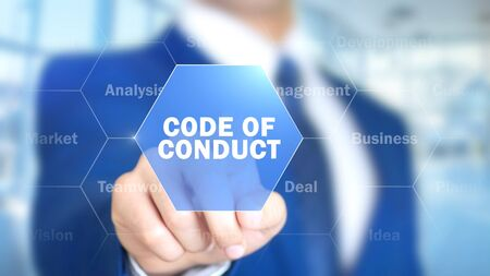 Code of Conduct, Man Working on Holographic Interface, Visual Screen Stock Photo