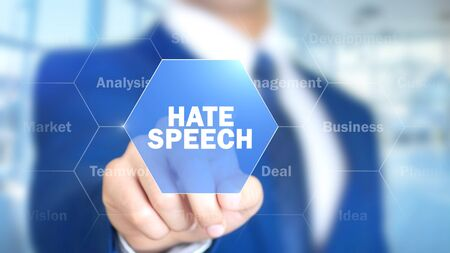 Hate Speech, Man Working on Holographic Interface, Visual Screen Stok Fotoğraf