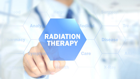 Radiation therapy, Doctor working on holographic interface, Motion Graphics