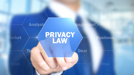 Privacy Law, Man Working on Holographic Interface, Visual Screen Stock Photo