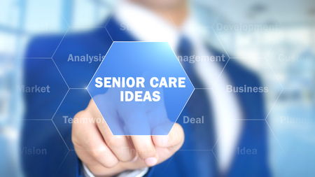 Senior Care Ideas, Man Working on Holographic Interface, Visual Screen