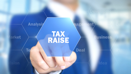 Tax Raise, Man Working on Holographic Interface, Visual Screen Stock Photo