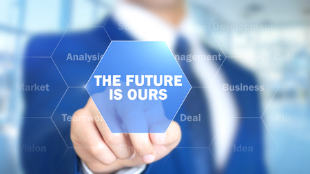 The Future Is Ours, Man Working on Holographic Interface, Visual Screen Stock Photo
