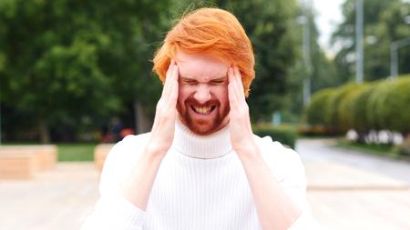 Frustrated Beard Man in Pain, Headache