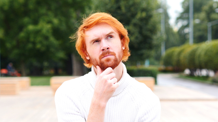 Brainstorming Pensive Man Thinking, Red Hairs and Beard Stock Photo