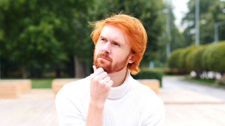 fantasize: Portrait of Thinking, Pensive Man, Red Hairs and Beard
