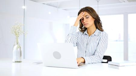 Headache, Frustrated Creative Designer Woman at Work