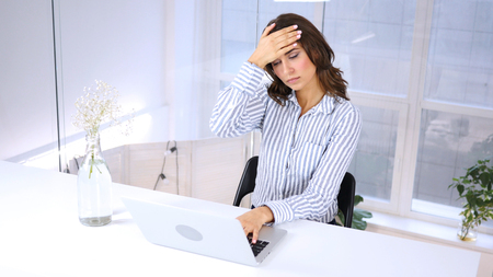 Tense Young Woman with Headache, Stress Stock Photo
