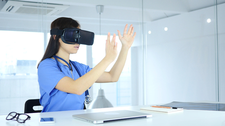 Doctor Using virtual reality glasses in Clinic, Vr Goggles