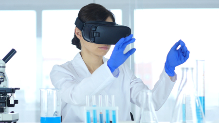 Scientist Using virtual reality glasses for Research in Laboratory, Vr Goggles