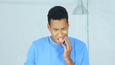 Afro-American Man with Toothache, Pain in Teeth