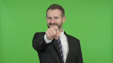 The Cheerful Businessman Pointing Finger and Inviting against Chroma Key