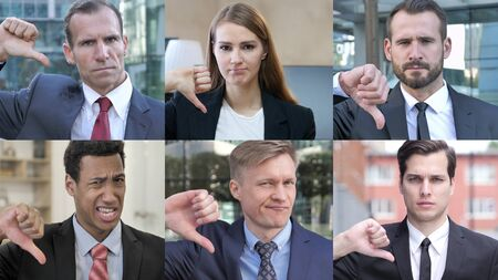 The Collage of Business People Doing thumbs Down