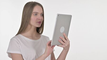 Young Woman using Tablet, White Background