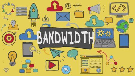 Bandwidth, Yellow Illustration Graphic Technology Concept Stock Photo