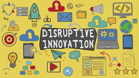 Disruptive Innovation, Yellow Illustration Graphic Technology Concept