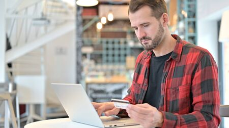 Shopping, Online Payment on Laptop by Beard Young Man