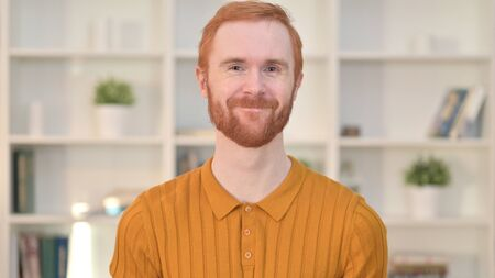 Portrait of Redhead Man saying Yes by Shaking Head
