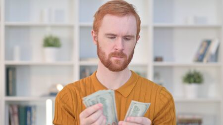 Portrait of Focused Redhead Man Counting Dollars