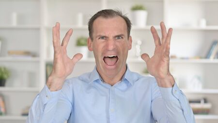 Portrait of Angry Middle Aged Businessman Screaming 免版税图像