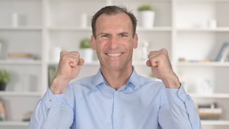 Portrait of Cheerful Middle Aged Businessman Celebrating Success 免版税图像 - 148658394