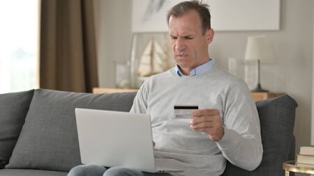 Middle Aged Businessman with Online Payment Failure on Smartphone