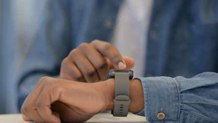 African Man Hands Using Smart Watch, Close Up
