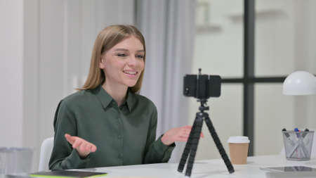 Video Talk on Smartphone by Young Woman