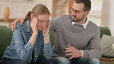 Man Trying to Calm Down Crying Woman, Couple
