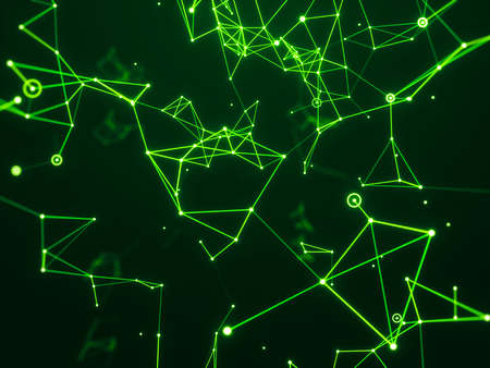 Digital hi-tech network connecting with line abstract background, green theme.