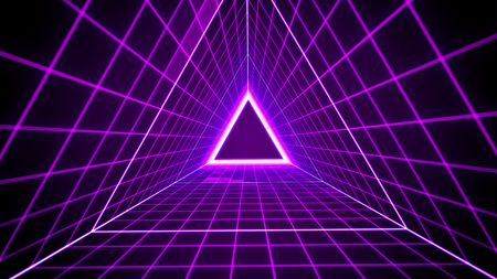 80s retro style background with triangle grid lights.