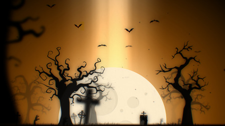 Halloween spooky background (yellow theme), with the spooky tree , moon , bats , zombie hand and graveyard.