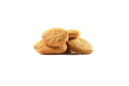 Stack of nut cookie isolated on white background. Stock Photo