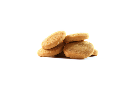 Stack of homemade cookies isolated on white background.
