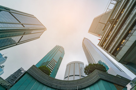 Modern skyscraper office buildings at business district in the city Stock Photo