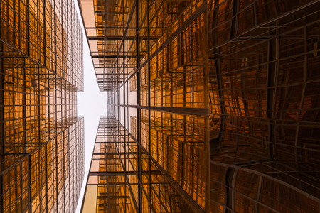 Modern golden business skyscrapers.